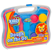 Kiddy Dough Playdough On the Go – Dough Starter Set with Modelling Tools – Includes 6 Colours of Dough, 7 Cutters, 1 Knife, 1 Rolling Pin & Travel Carrying Case for Endless Design Possibilities