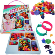 Pop Snap Beads - Bracelet Making Kit - Beads for Jewellery Making - Arts and Crafts for Girls – Kids Toys - Charm Bracelet Kit - Includes Over 190 Beads - by Dooboe