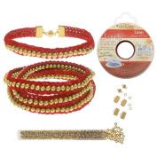 Refill - Beaded Flat Kumihimo Bracelet Set - Red/Gold - Exclusive Beadaholique Jewellery Kit