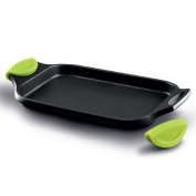 Castey Induction Flat Tray Pan and Silicone Side Handles, 45 cm, Cast Aluminium, Black, 43 x 28 x 6 cm