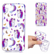 iPhone 5/5S Case,iPhone SE Case [With Tempered Glass Screen Protector],Qimmortal(TM) Silicone Case Cute Colourful Pattern Design TPU Bumper Protective Slim Gel Skin Rubber Case Flexible Shock Scratch Resist Protection Shell for Apple iPhone 5/iPhone 5S ..