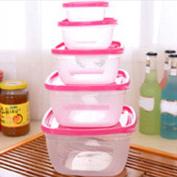 5Pcs Plastic Food Storage Containers Boxes Set Fresh Refrigerator Seal Box Kitchen Organisation