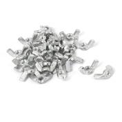 M5 Female Thread Metal Wing Nut Hardware Fasteners Silver Tone 30pcs