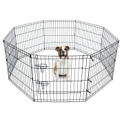 Pet Dog Playpen Foldable Exercise Pen Metal Yard Fence Portable for travel camping 8 Panel-60cm