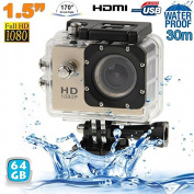 Sports Camera Full Hd 1080p 12MP Waterproof 30 M Camera Action Gold 64Go