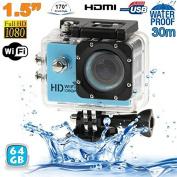 64GB WiFi Camera Diving Housing 12MP HD 1080P Sport Camera Blue