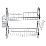2-Tier Dish Drying Rack Stainless Steel with Drainer Board Home Kitchen Utensil Plate Bowl Cup Drainer Holder Organiser