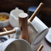 Solid Wood Simple Cup Holder, Up Mug Rack Wire Mug Tree Stand Solid Wood Cup Holder Drain Cup Rack Mug Holder Kitchen Shelf Storage Glass Cup Holder