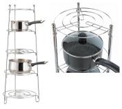 AQS 5 Tier Saucepan Stand Chrome Kitchen Display Shelf Rack Storage Solution Kitchen