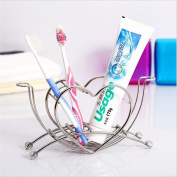 NiceButy Fashion Toothbrush Holder Stainless Steel Brushes Cup Stand Toothpastes Storage Heart