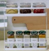 2 Tier Free Standing Spice Rack Herb Jars Herbs Bottles Holder Countertop Storage Stand