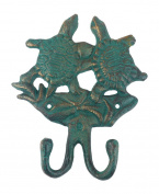 Cast Iron Sea Turtle Hook Verdigris Finish, 15cm Tall