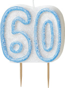 WOW GLITTER BLUE 60th Birthday Candle