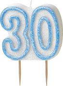 WOW GLITTER BLUE 30th Birthday Candle