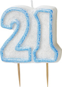WOW GLITTER BLUE 21th Birthday Candle