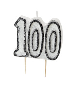 WOW GLITTER BLACK/SILVER 100th Birthday Candle