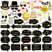 56 pcs 30th Birthday Photo Booth Props, konsait DIY Photo Booth Selfie Props Kit with Stick for Her Him Birthday, 30th Birthday Decorations Black and Gold, Easy Assembly