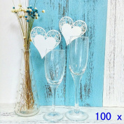 JZK® 100 x Pearly white heart on wineglass shimmer laser cut name card place card table number decoration for baptism communion wedding birthday party or other various occasions