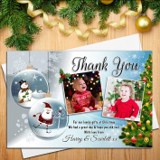 10 Personalised Christmas Gift Xmas THANKYOU Thank you PHOTO Cards Notes N59