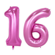 TOYMYTOY 100cm Pink Number 16th Balloon Party Festival Decorations Birthday Anniversary Jumbo Foil Balloons Party Supplies Photo Props