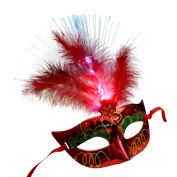 Gaddrt Feather Mask Mardi Gras Masquerade Mask Party Feather LED Masks for Halloween Carnival Party Costume