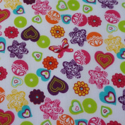 White Polycotton Fabric w/ Colourful Patterned Flowers & Butterflies