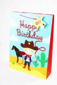Happy Birthday Cowboy Gift Bag Medium Boy Party Gifts For Him Celebration