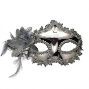 Venetian Venetian Silver with Stone and Flower Flower Shining Glitter Mask Masquerade Masks Ball Carnival Costume Fancy Dress Costume Shades of Grey Mr Grey Men Women Men Women Glittering Midnight Black