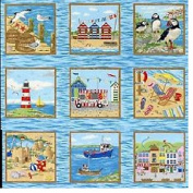 SEASIDE FABRIC - Seaside Squares - Panel - NU091 - Panel 30 x 110 cm - Fabric by Nutex 100% Cotton