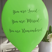 25 Green 'You are Loved, Missed, Remembered' Funeral Remembrance Condolence Balloons - by Angel & Dove