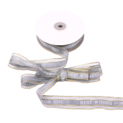 DIY Ribbons, Yunt 2.5cm Ribbon Satin Ribbon DIY Craft Sewing Home Party Decor Festival Wedding Decoration Handmade Gift Packaging Tapes Double-sided Ribbon with Golden Edges and English Words Grey