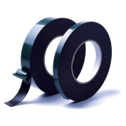 euhuton 2 Rolls 30m Foam Tape Adhesive Sponge Tape Waterproof Double Sided Tape Roll,12mm and 25mm Width,Black,15m Each Roll