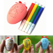Oyedens Kids DIY Painting Colour Egg Toy Easter Egg with 4 Water Colour Pen