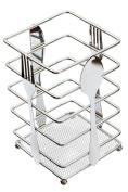 Utensil Holder Kitchen Flatware Forks Cutlery Storage Organiser Chrome Steel Suqare 9.9cm L x 9.9cm W x 16cm H