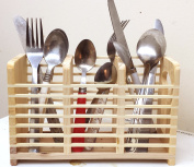 Bamboo Wooden Cutlery Rack Chopsticks Spoon Storage Fork Tong Utensil Holder Caddy With 3 Compartment Kitchen Organiser