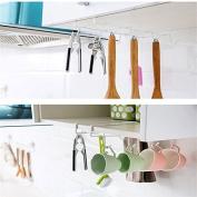 Towel Mug Cup Hanging Rack For Kitchen Utensil Holder Gadget Tool 8 Hooks Cupboard Under Shelf Storage