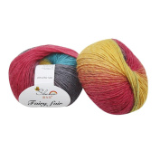 Voberry 1pc 50g Chunky Hand-woven Rainbow Colourful Knitting Scores Wool Blend Yarn