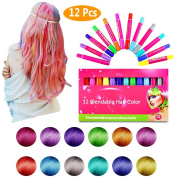 TKOnline Hair Chalk Set, 12 Colours Non-Toxic Washable Temporary Hair Colour Hair Chalk Salon Rainbow Colour Pens for Christmas, Party, Cosplay DIY Works on Any Hair Colour