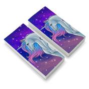 Majestic Unicorn Pink Purple Blue Eraser Set of 2
