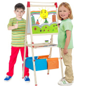NEOWOWS 4-in-1 Wooden Art Easel 4¾ ft Adjustable Standing Easel with Chalkboard, Dry-Erase Board, Paper Roll, Paper Binder Clip And Drawing Accessories