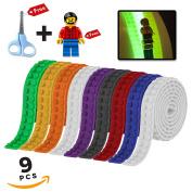 Building Block Tape, Lego Tape Roll . Bricks, Glow in the Dark, Easy Kids Crafts, 9 Rolls, Free Scissors and Minifigure