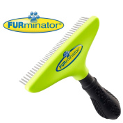 FURminator Pro Long Dog Hair Brush for Undercoats Comb Dematting Tool with Rotating Teeth Grooming Rake Separates and Untangles Fur in Long Dense Coats 10cm Wide Head