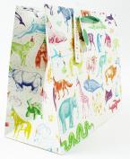 Medium Wide Animal Print Present Gift Carrier Bag For Kids Adult Birthday Modern