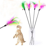 weimay Toy for Pets Cat Wand Interactive Cat Polo Sticks Tease Cat and Dog Hay Bells Colourful 4pcs