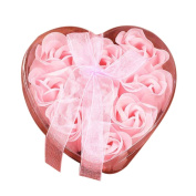 Rose Flower Soap, Turkey 9Pcs Heart Scented Flower Petals Bath Scented Rose Petals for Bath Valentine's Day Gift for her Wedding Decoration