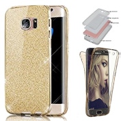 Sycode 360 Degree Bling Case for Huawei P8 Lite,Full Body Glitter Case for Huawei P8 Lite,Front and Back Full Body TPU Silicone Gel Clear Transparent Ultra Slim Protective Shockproof Rubber Slim Fit Crystal Clear Case Cover for Huawei P8 Lite-Gold