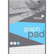 Silvine Student Graph Pad 90gsm 2mm 10mm 20mm Grid 50 Sheets A4 Ref A421020 Pack 10 128028