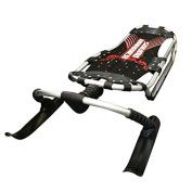 Sound Barrier Snow Sledge Grooved Ski Toboggan Speed Sled - Precise Steering & Control Steel Frame With Mesh Base