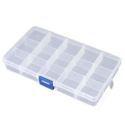 Storage Box, Wors Endy 15 Compartments Storage Stacker Jewellery Box Clear Field Storage Lid Bobbin Thread Bobbin Box with Removeable Dividers