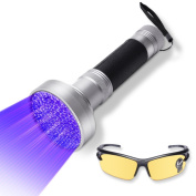 UV Flashlight Blacklight by WOLFWILL 100 LED Ultraviolet Black light Torch Pet Urine Stain Detector with UV Glasses for Scorpion, Bed Bugs, Car . Leaks